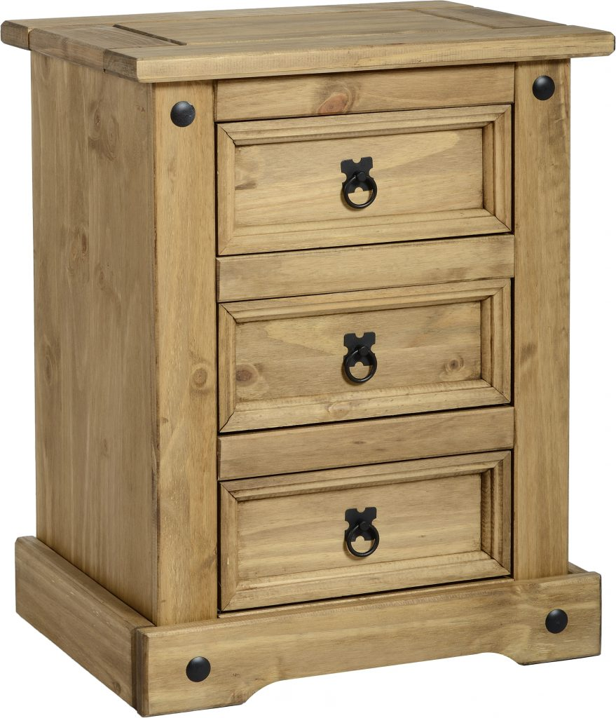 CORONA Pine 3 Drawer Bedside Chest H67cm x D39cm x W53cm
