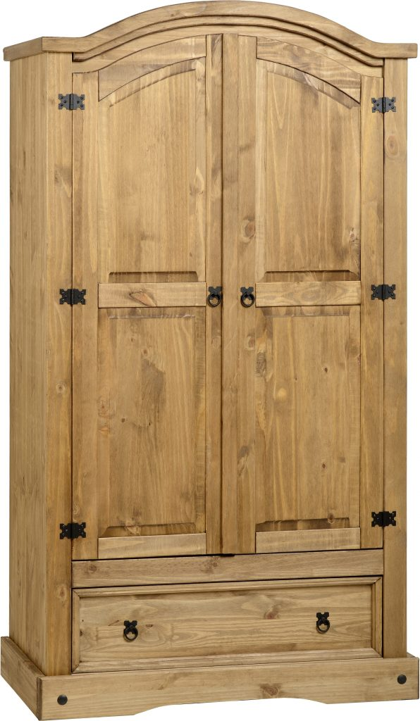 CORONA Pine 2 Door 1 Drawer Wardrobe H189cm, D57cm, W104cm