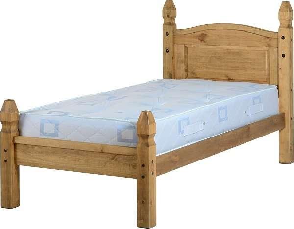 CORONA 3ft Single Waxed Pine Low Foot End Bed W101.5cm X L206.5cm X H117cm