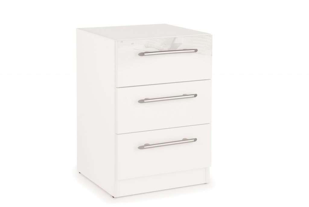 ANGEL Gloss White 3 Drawer Bedside Chest W40cm x D40cm x H58.5cm