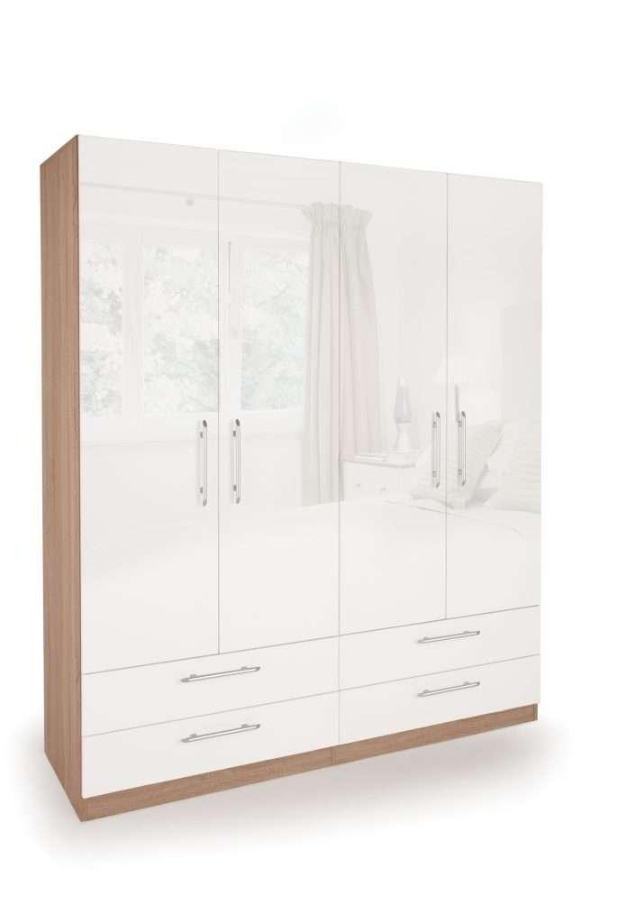 KEN Gloss White 4 Door 4 Drawer Wardrobe W160cm x D52cm x H187cm