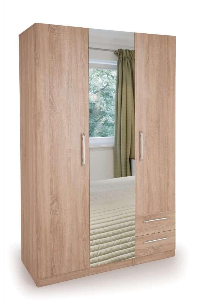 COLBORN Oak Effect 3 Door 2 Drawer Wardrobe W120cm x D52cm x H187cm