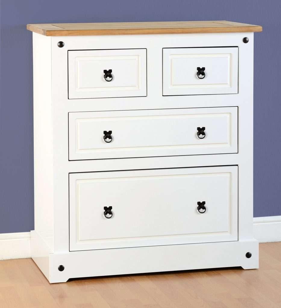 CORNET White Pine Top 2+2 Drawer Chest W92cm x D48cm x H105.5cm