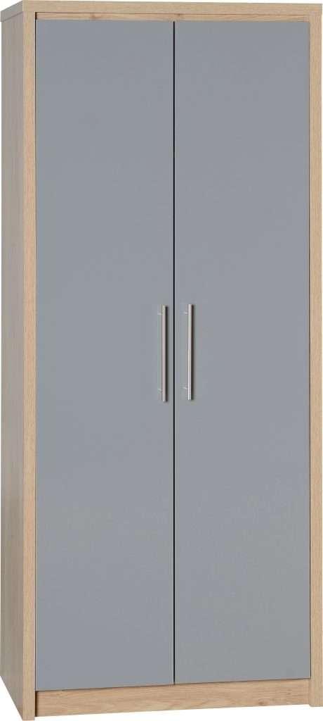 SYLVIA Oak & Grey High Gloss 2 Door Wardrobe W76cm x D47cm x H180cm