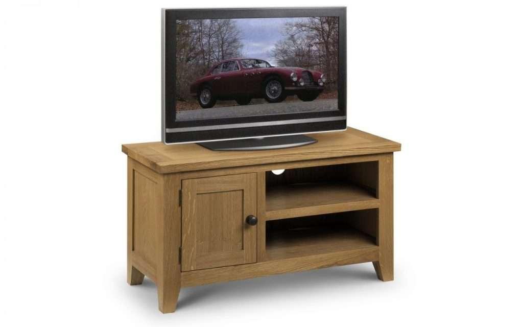 TORI Solid Oak Waxed Finish Shelves 1 Door Tv Unit W90cm x D40cm x H50cm