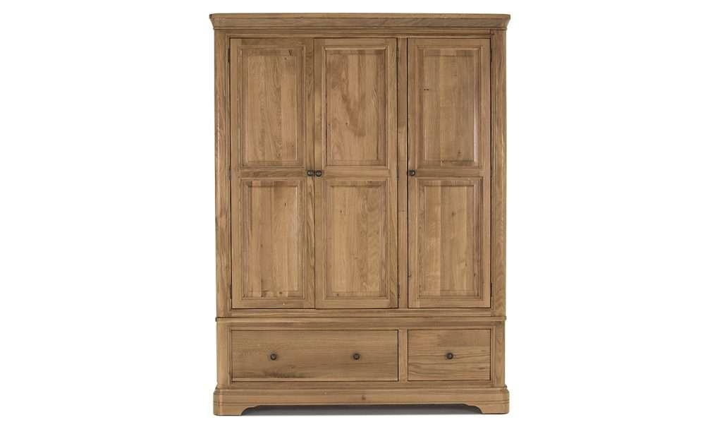 BELLINI Oak 3 Door 2 Drawer Wardrobe W144.7cm x D57.5cm x H192cm