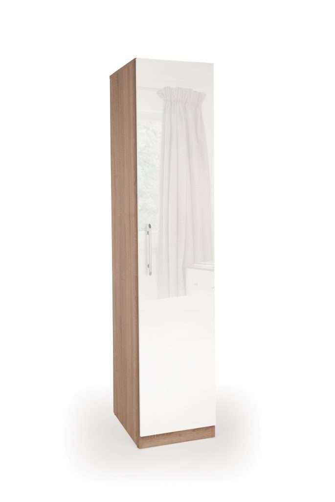KEN Gloss White 1 Door Wardrobe W40cm x D52cm x H187cm