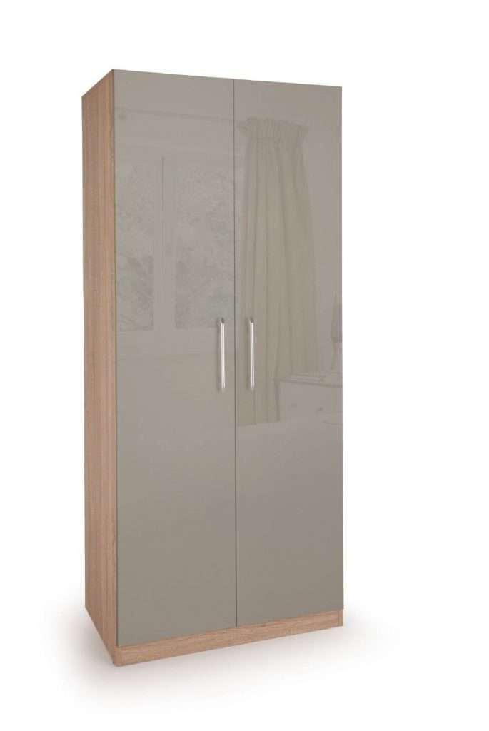 KENDAL Oak & 2 Grey Gloss Door Wardrobe W80cm x D52cm x H187cm