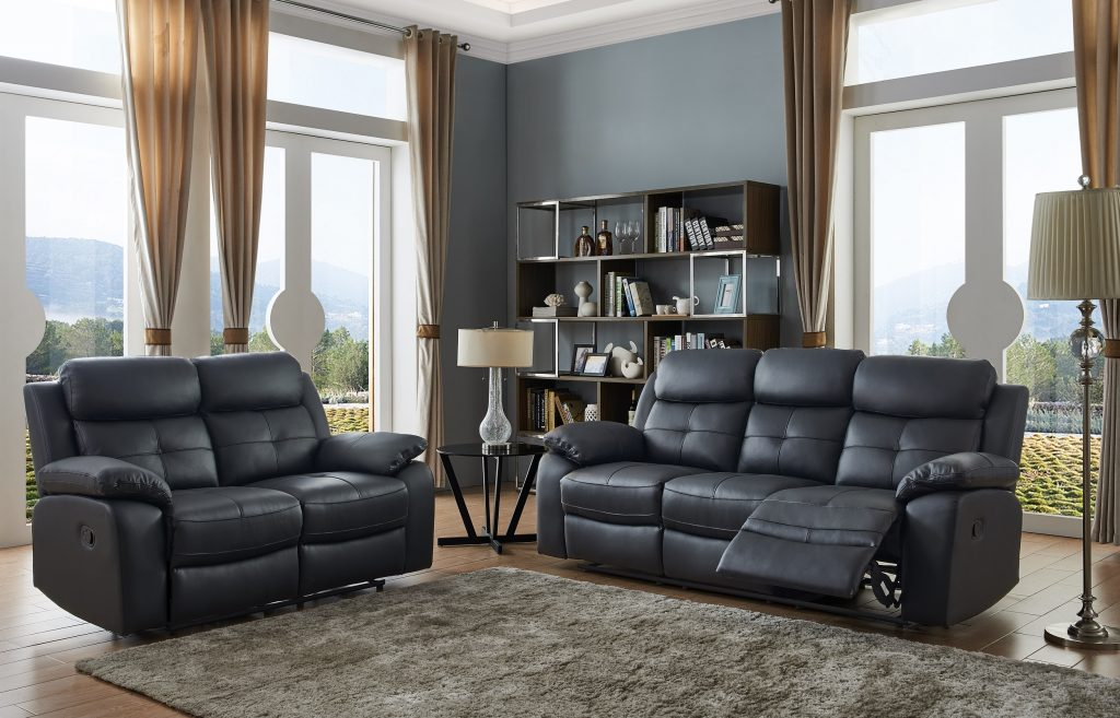 CHICAGO Black High Grade Leather 3 Seater + 2 Seater Recliner Sofas
