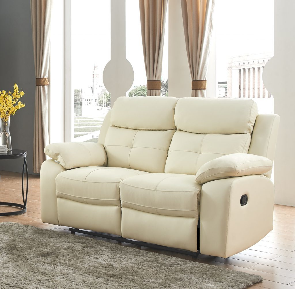 CHICAGO Cream High Grade Leather 2 Seater Recliner Sofa