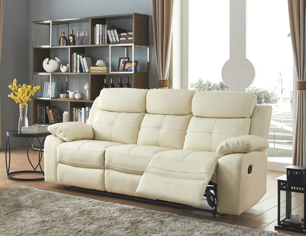 CHICAGO Cream High Grade Leather 3 Seater Recliner Sofa
