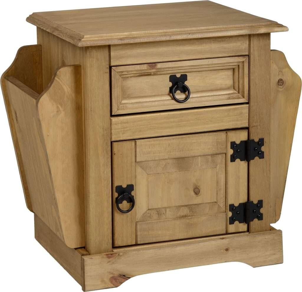 CORONA Waxed Pine 1 Drawer Magazine Table W53cm x D35.5cm x H47.5cm