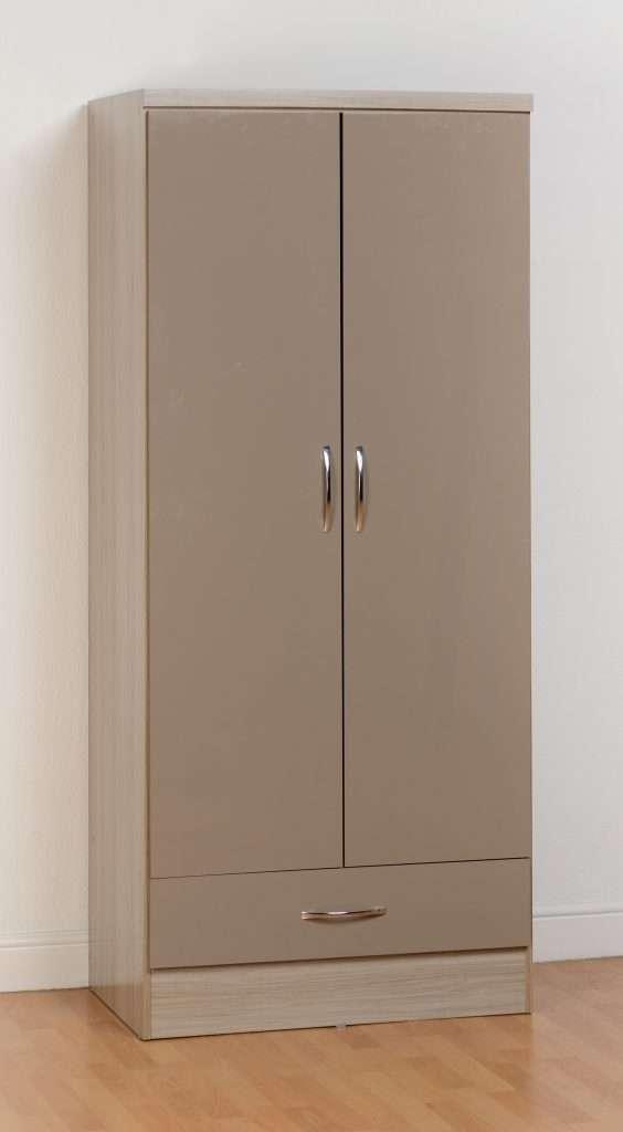 NADIA Oyster Gloss & Oak Effect 2 Door 1 Drawer Wardrobe W78cm x D52cm x H182.5cm