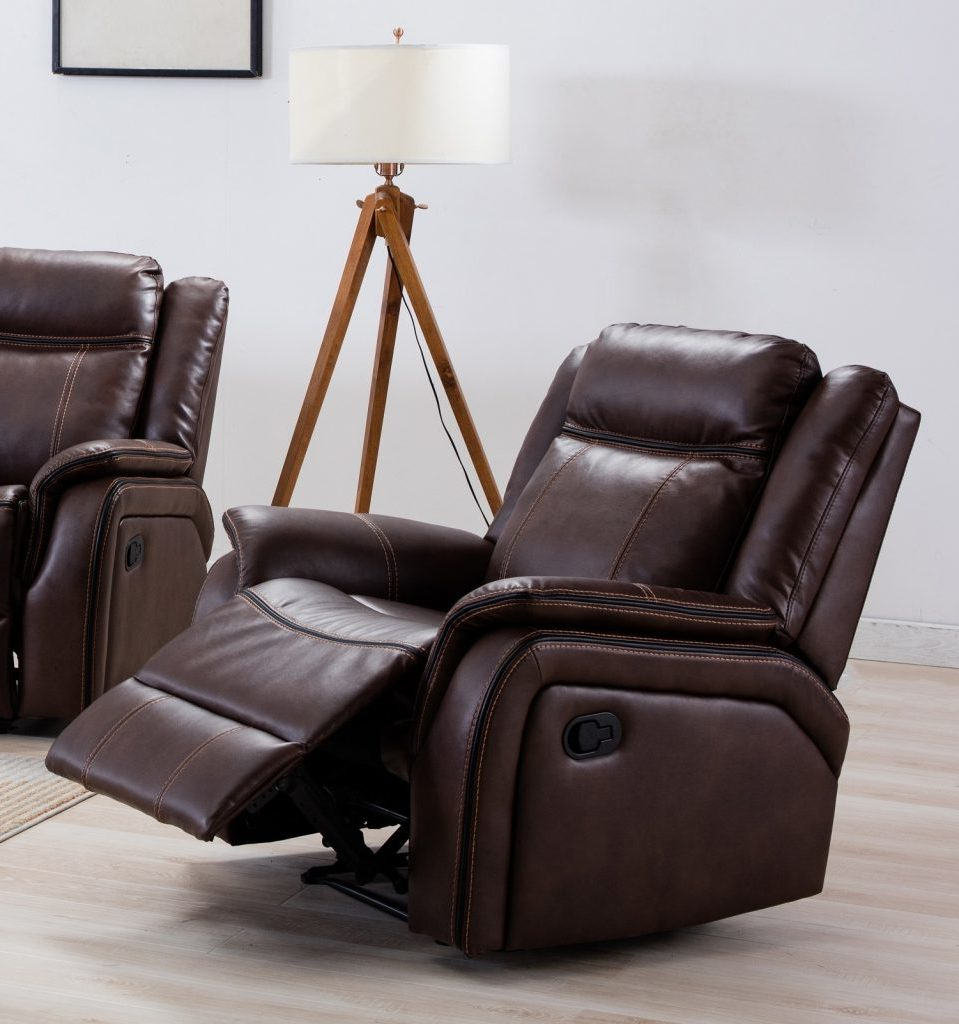 NEWBURY Brown Leather Gel Reclining Armchair