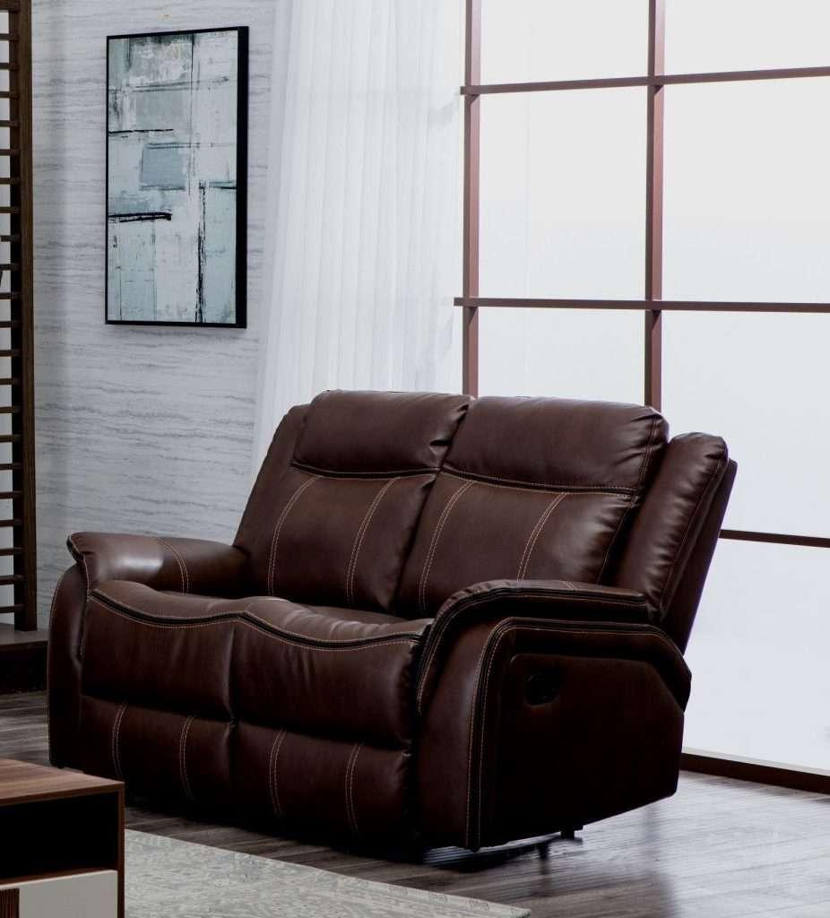 NEWBURY Brown Leather Gel 2 Seater Recliner Sofa