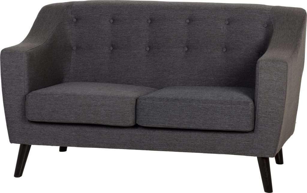 ASHA Dark Grey Fabric 2 Seater Sofa L146cm X D78cm X H84cm