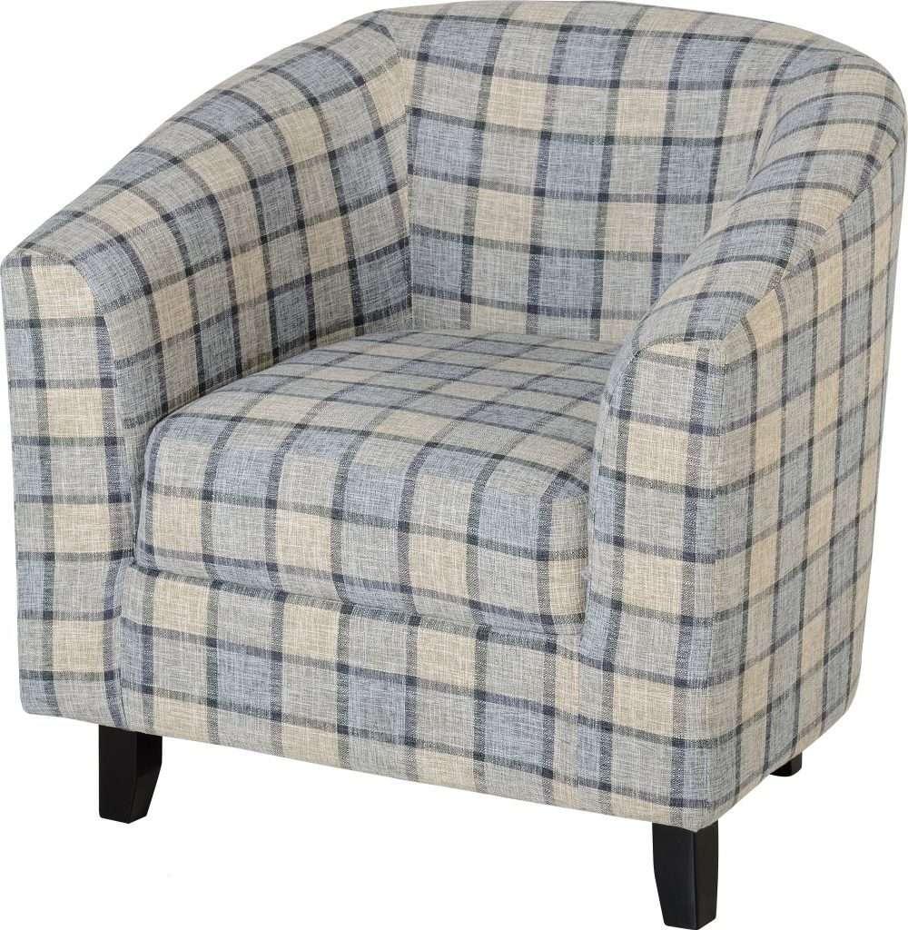 HARRY Grey Check Fabric Tub Chair W76cm x D72cm x H77cm