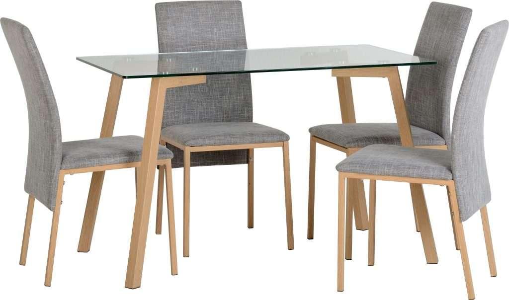 MORGAN Clear Glass/Oak Effect Veneer Dining Table + 4 Grey Chairs W123cm x D73cm x H75cm