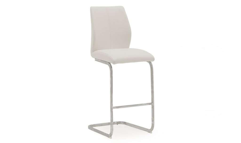 LISA White Faux Leather / Chrome Bar Chair (Price is Per Chair)