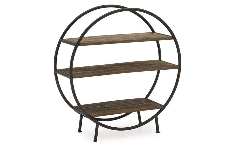 SUSAN Round 3 Shelf Wood & Metal Display Unit W90cm x D40cm x H90cm