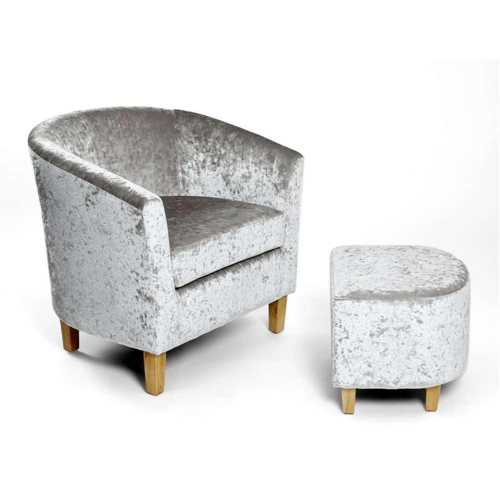 FREEMA Silver Crushed Velvet Tub Chair & Footstool