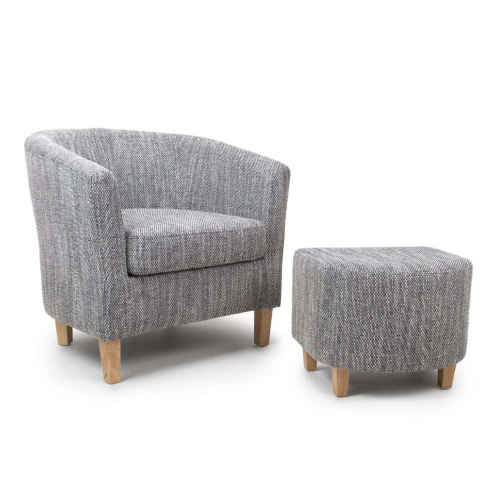 Tub Tweed Grey Chair & Stool Set