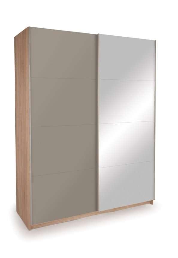 KENDAL Oak, Gloss Grey Mirror Sliding Door Wardrobe W150cm x D60cm x H195cm