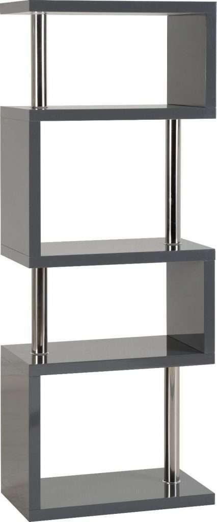 Charm 5 Shelf Unit Grey Gloss/Chrome W60cm x D35cm x H160cm