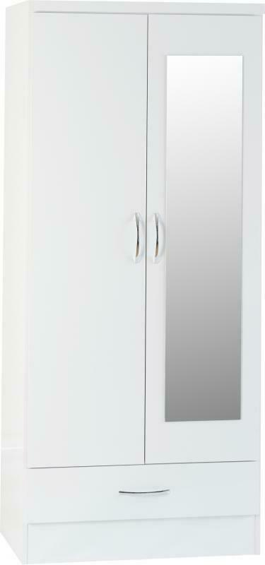 NADIA White 2 Door 1 Drawer Wardrobe W78cm x D52cm x H182.5cm