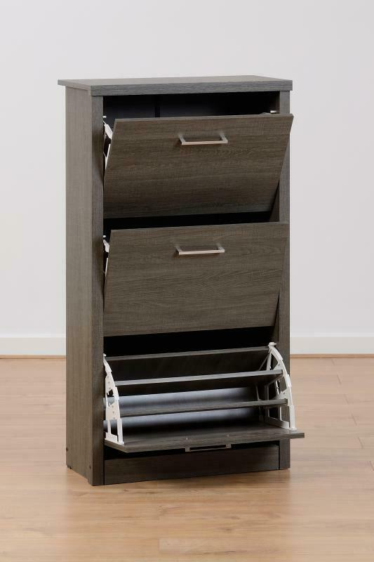 LACEY Dark Grey Wood Grain Effect 3 Drawer Shoe Cabinet W63cm x D30cm x H117.5cm