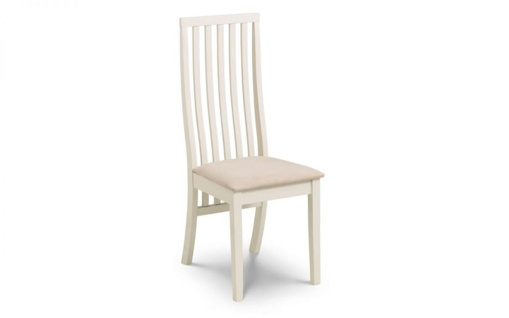 VERONA 1 X Solid Wood & Ivory Dining Chair W41cm x D48.5cm x H101cm