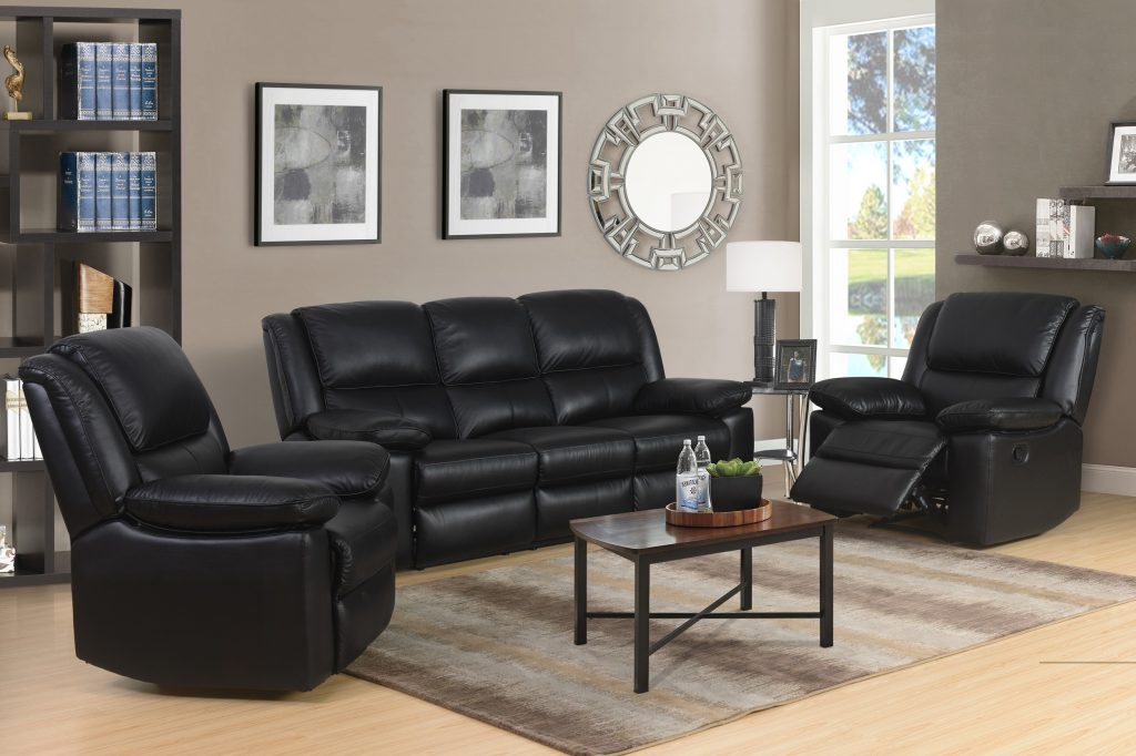 TOLEDO Black High Grade Genuine Leather Manual Recliner Suite
