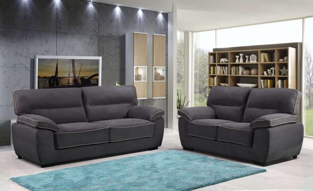 MINESOTA Dark Grey Velvet Fabric 3 Seater Sofa + 2 Seater Sofa