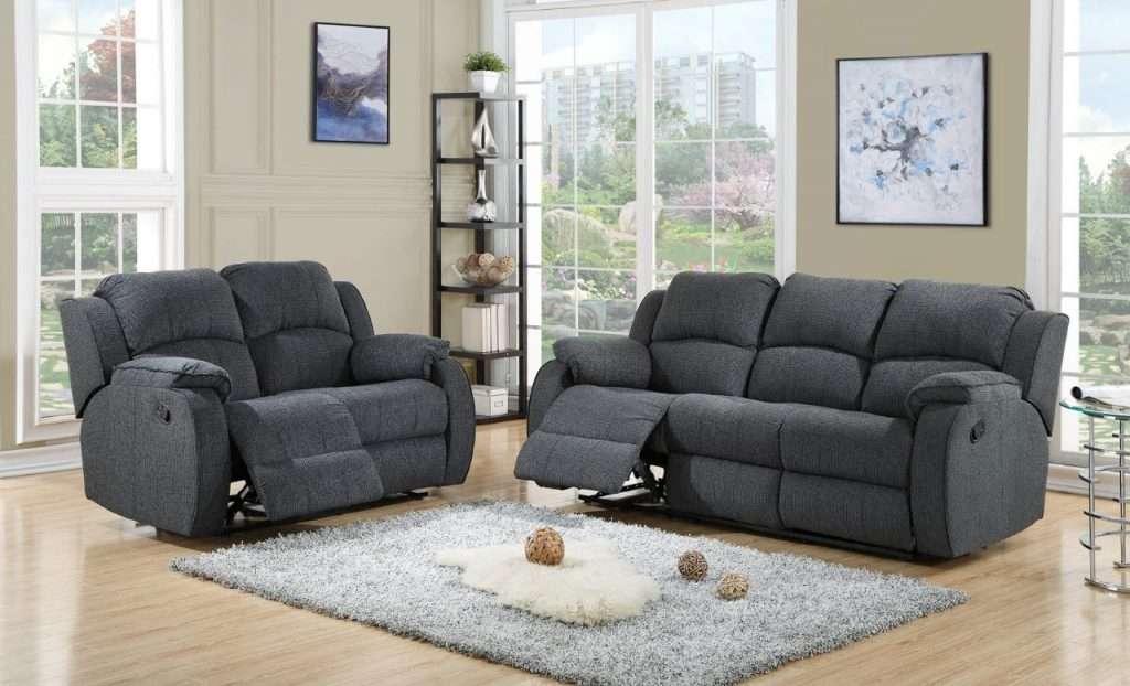 DEKOTA Grey Fabric 3 Seater Sofa + 2 Seater Sofa