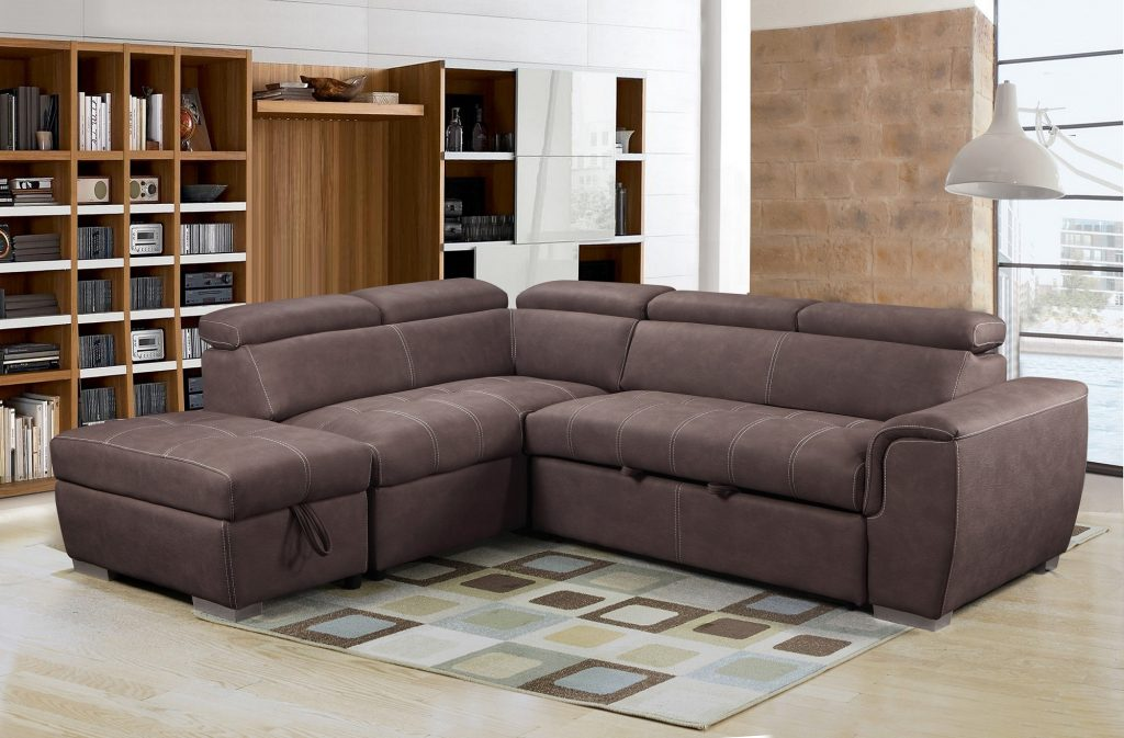 MICHIGAN Brown Suede Effect Fabric Corner Sofa-Bed Sofa LHF