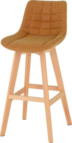 DARWIN 2 X Mustard Faux Leather & Beech Bar Chairs H99.5cm (Price Per Chair)