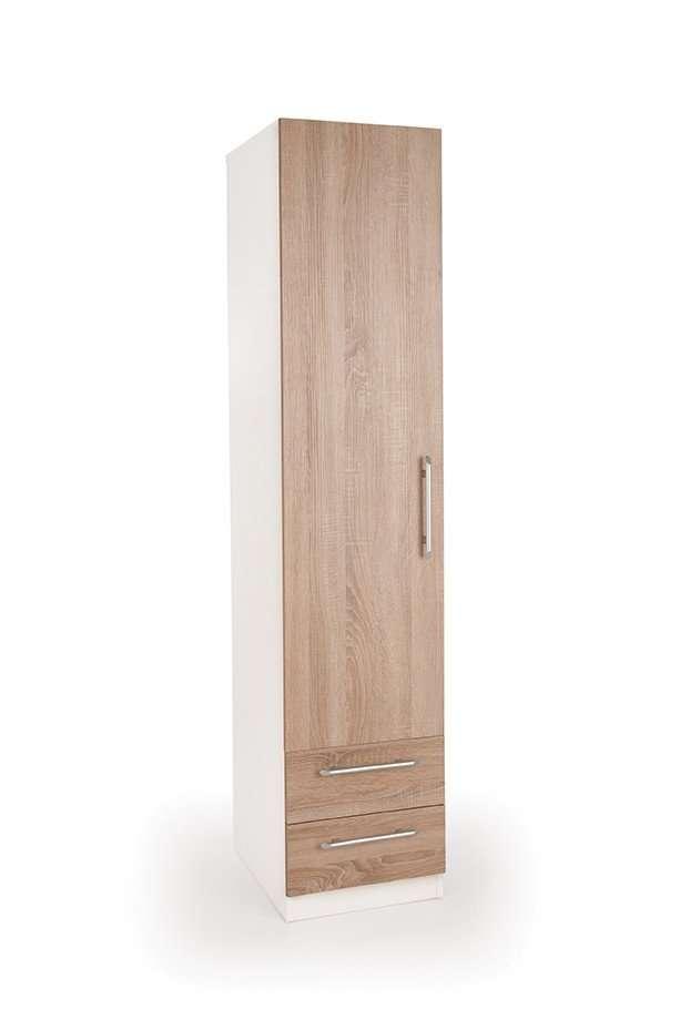 HUSTON Oak Effect & White1 Door 2 Drawer Wardrobe W40cm x D52cm x H187cm