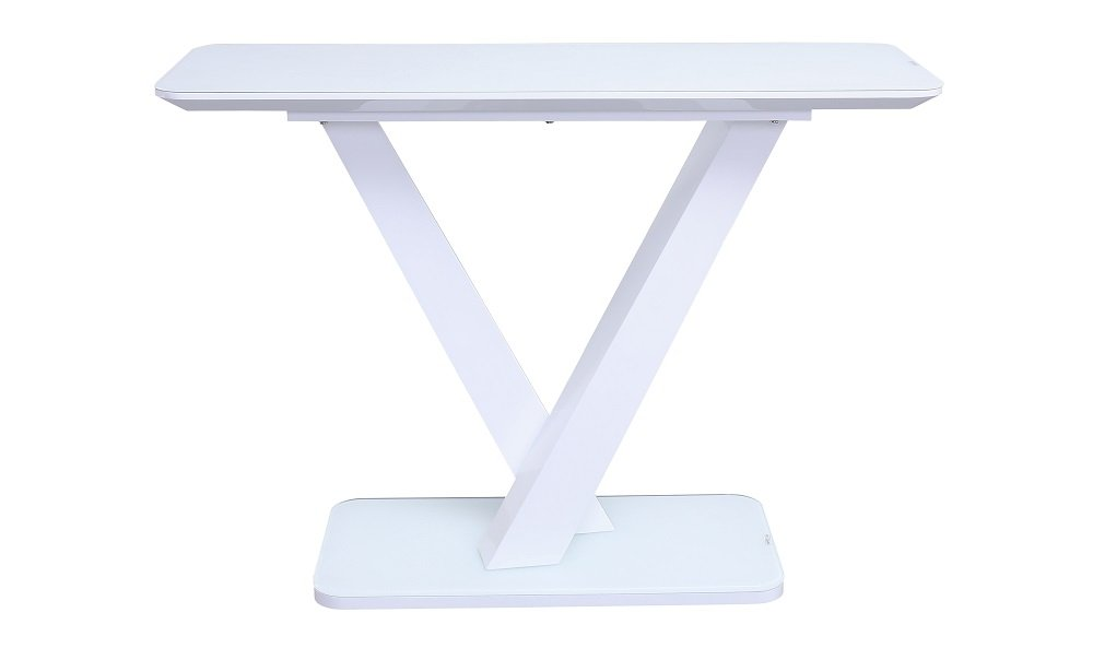 RACHEL High Gloss White Glass Top Console Table L110cm x D40cm x H78cm
