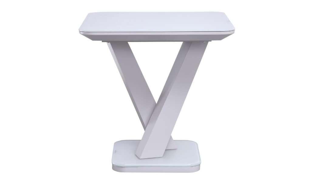 RACHEL Gloss WHITE Glass Top Lamp Table W50cm x D50cm x H50cm