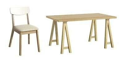 MONACO Oak Effect Dining Table & 4 White & Beige Chairs W150cm x D90cm x H75cm