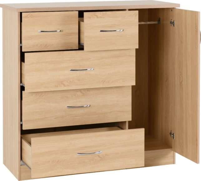 NADIA Oak Effect 5 Drawer 1 Door Low Wardrobe W117cm x D46cm x H115cm